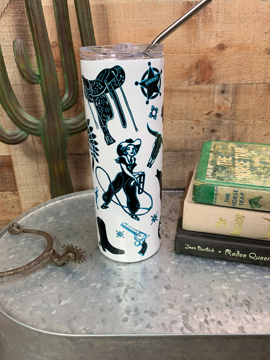 Cowgirl Constellation Skinny Tumbler