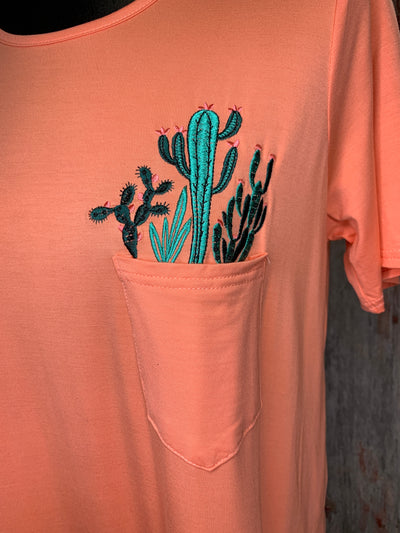 Cactus Pocket Tee - Ropes and Rhinestones