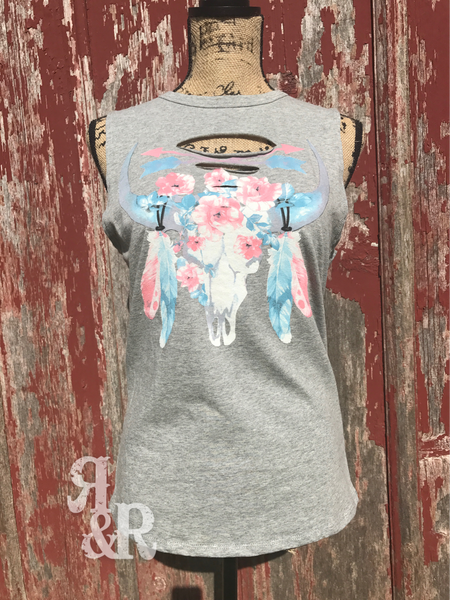 Cow Skull, Flowers & Arrows Tank - Ropes and Rhinestones