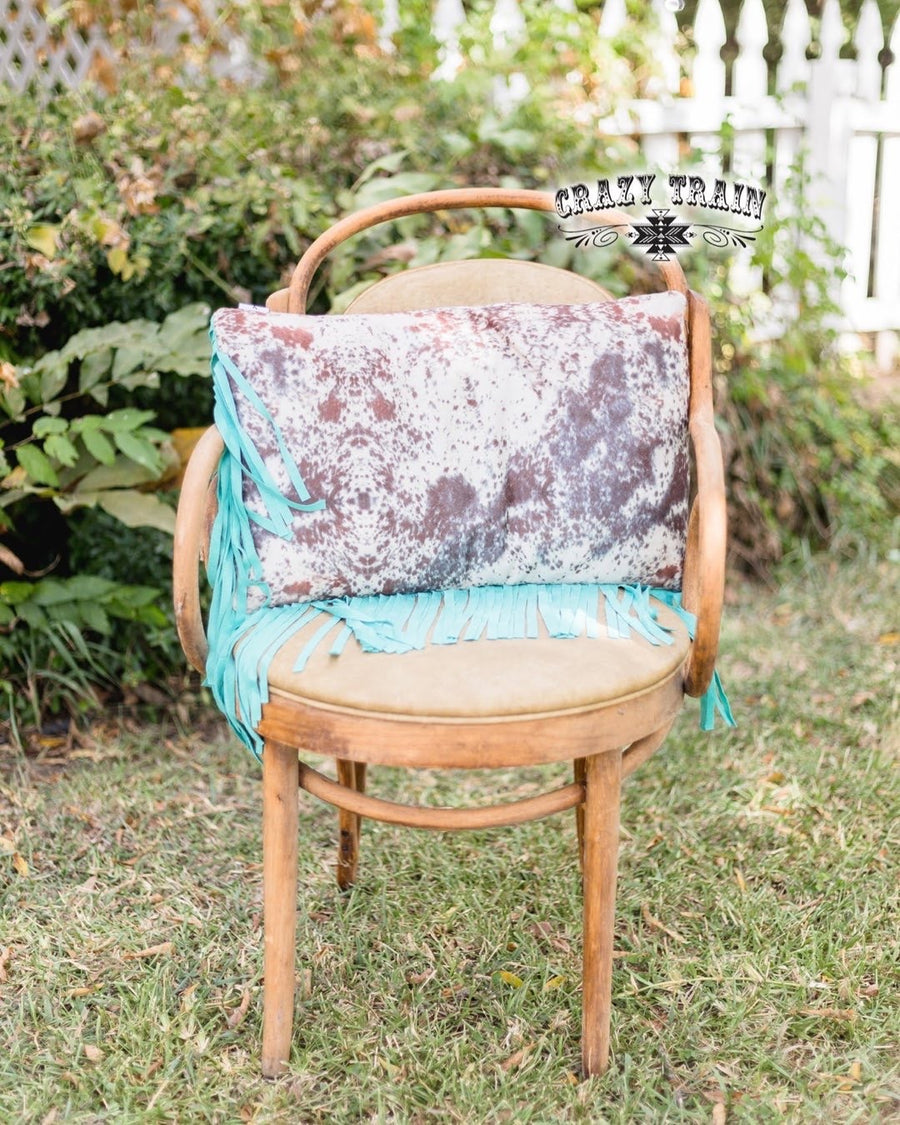 Fly Fringe Cowhide Print Pillow