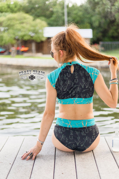 Rodeo River Cowboy Swim Top