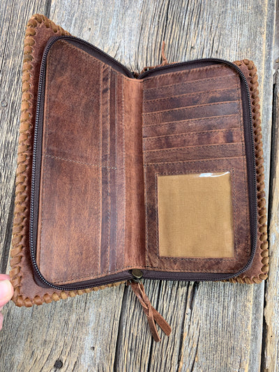 Whip Stitched Leather Crossbody Wallet