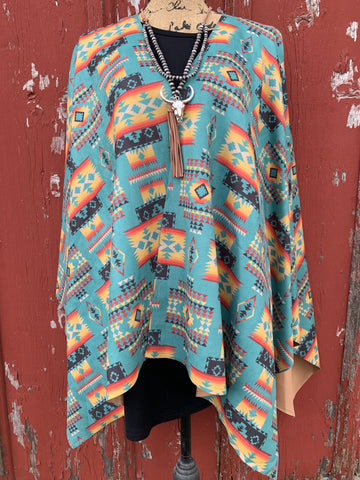 Turquoise Aztec Faux Suede Poncho
