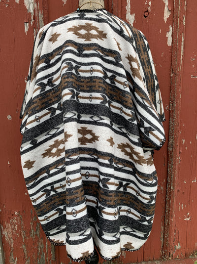 Brown Aztec Pocket Poncho