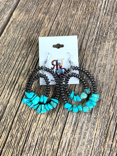 Double Hoop Navajo Pearl & Stone Earrings