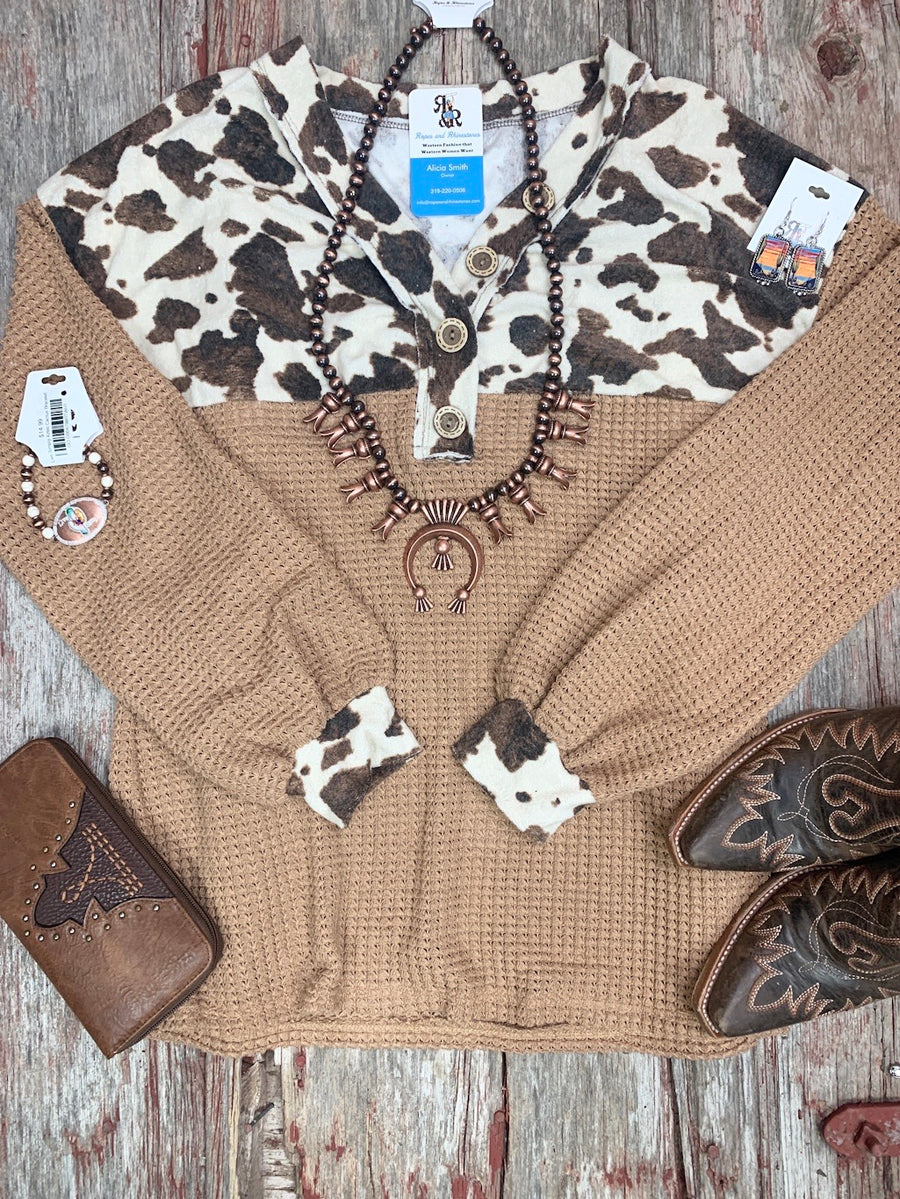 Cow Print V Neck Button Top