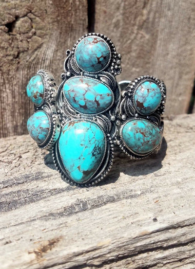 Turquoise & Silver Stretch Bracelet