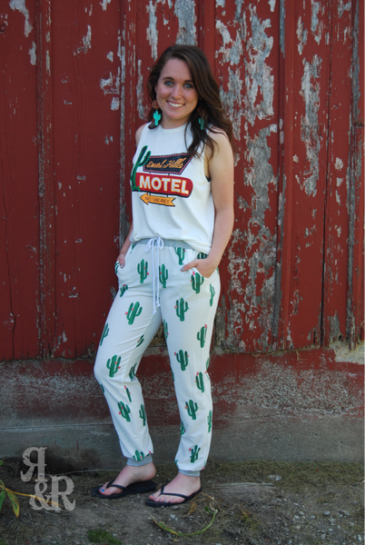 Cow Skull or Cactus Lounge Pants - Ropes and Rhinestones