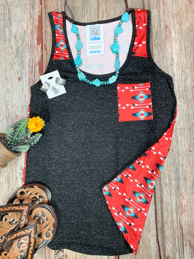 Red Aztec & Arrow Pocket Tank Top