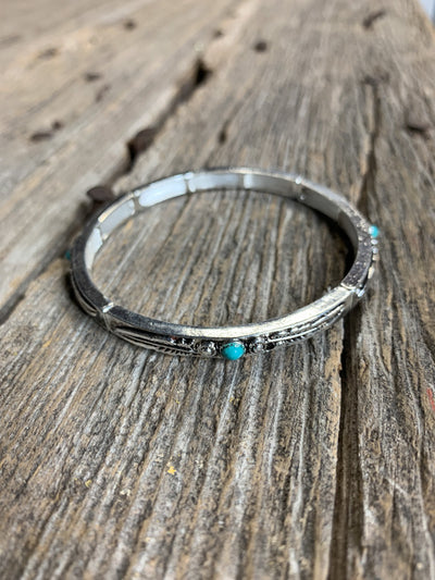 Feather Bracelet with Single Turquoise Stone