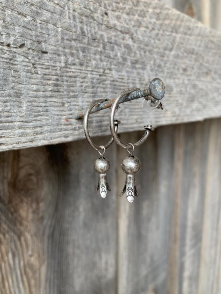 Squash Blossom Hoop Earrings