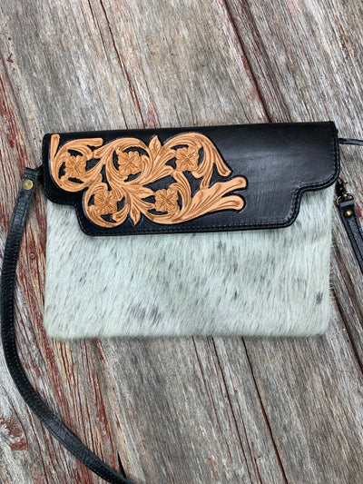 Tooled Leather Flap & Cowhide Crossbody Purse