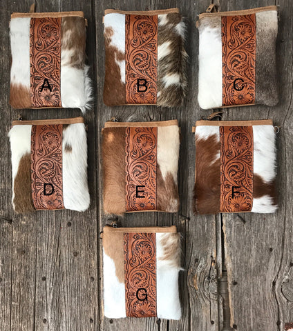 Leather Scroll & Cowhide Cross Body