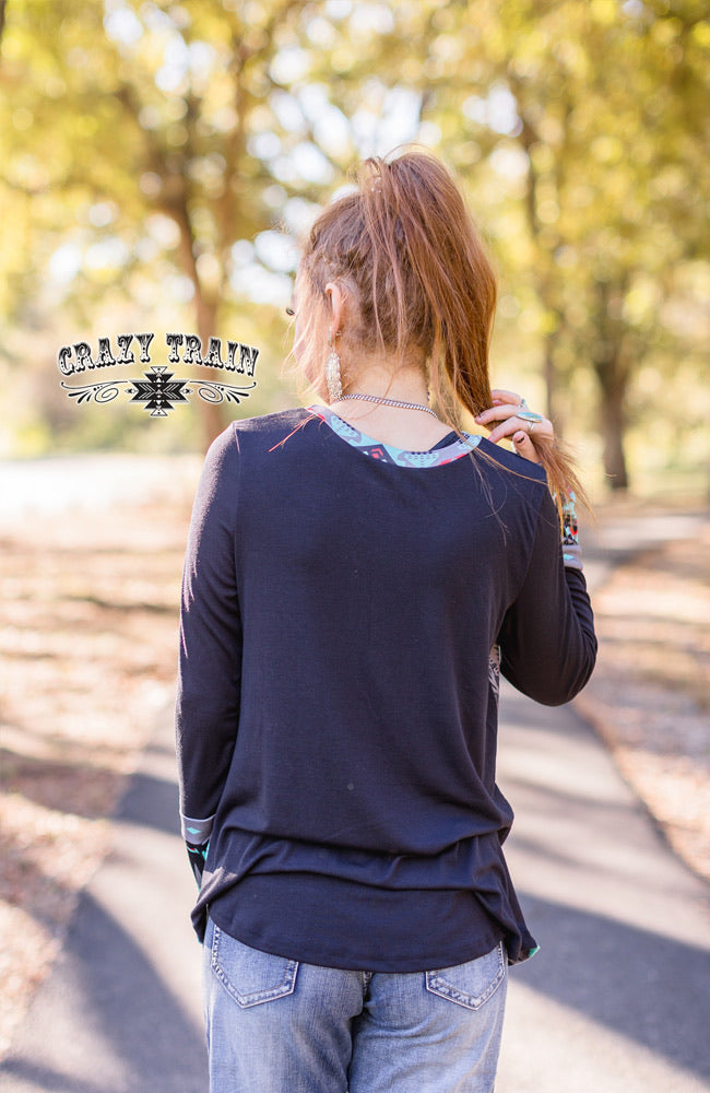 Midnight In Montana Aztec Leather Top