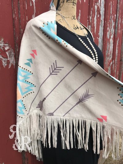 Aztec Arrow Studded Fringe Poncho - Ropes and Rhinestones