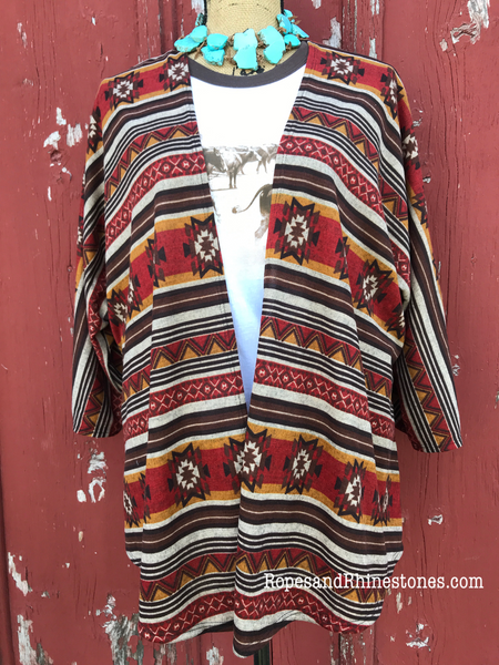 Aztec Shades of Fall Kimono - Ropes and Rhinestones