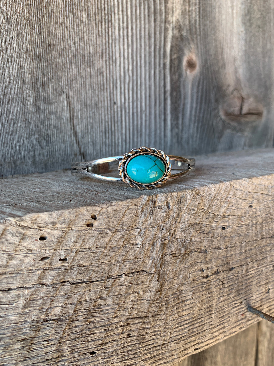 Oval Turquoise Cuff Bracelet