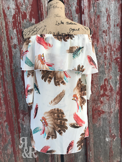 Indian & Feather Off The Shoulder Top