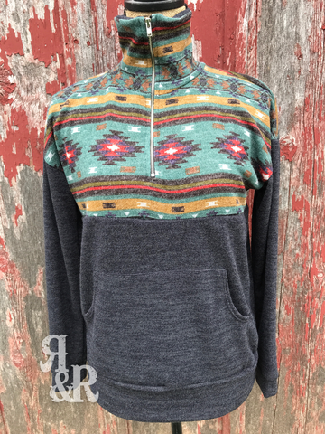 Aztec Zipper Pullover - Ropes and Rhinestones