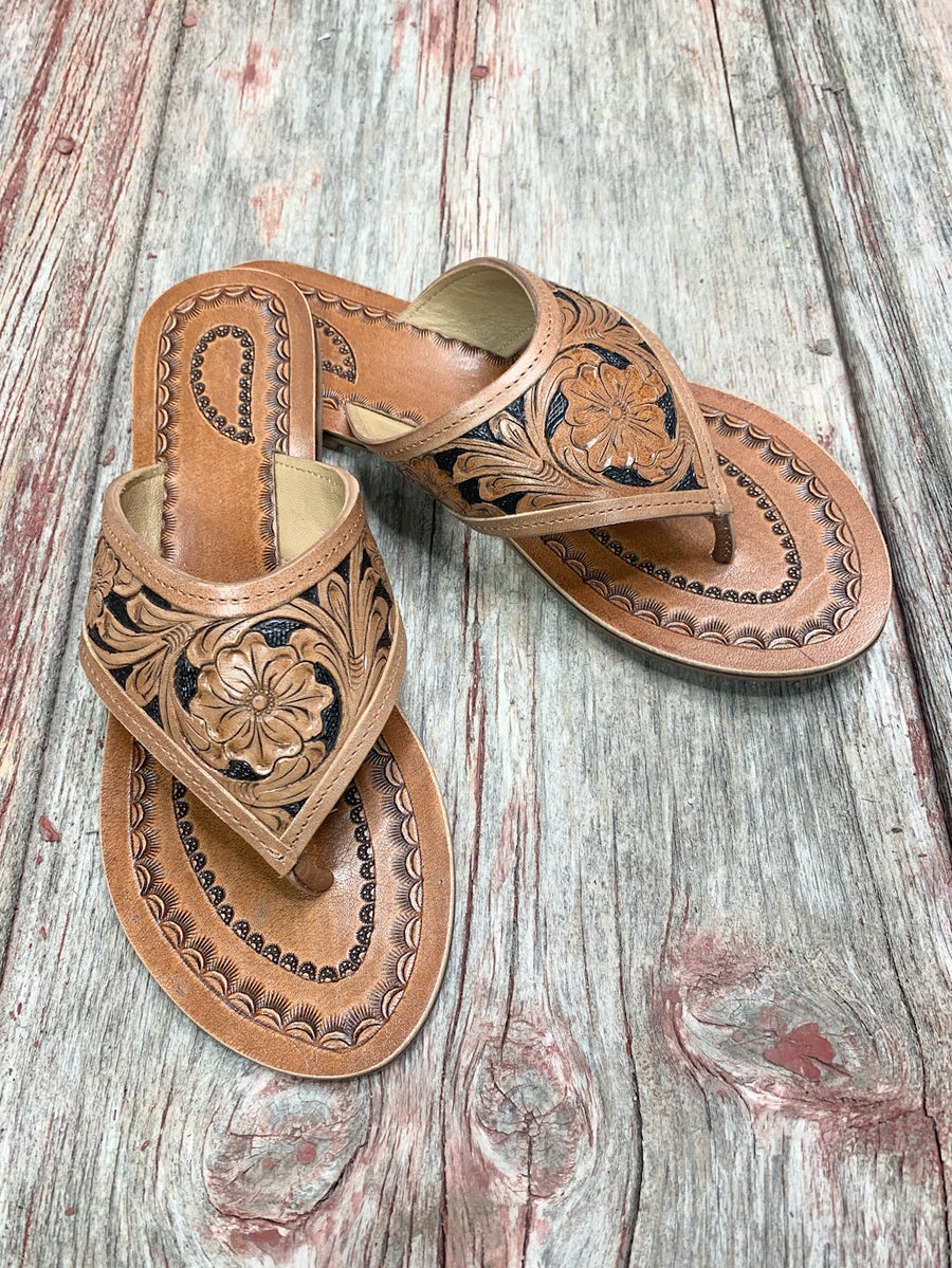 Tooled Leather Tejas Sandals