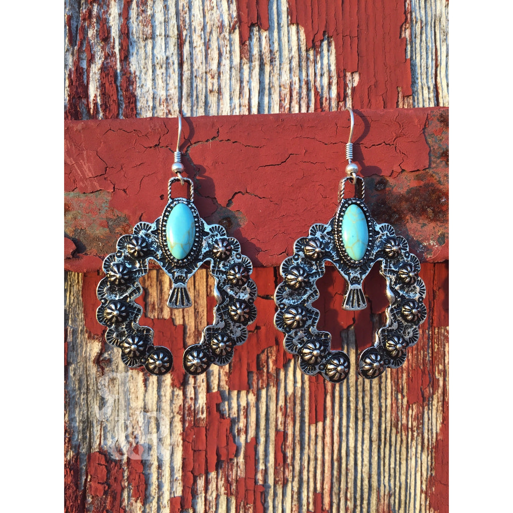 Turquoise Naja Earrings - Ropes and Rhinestones