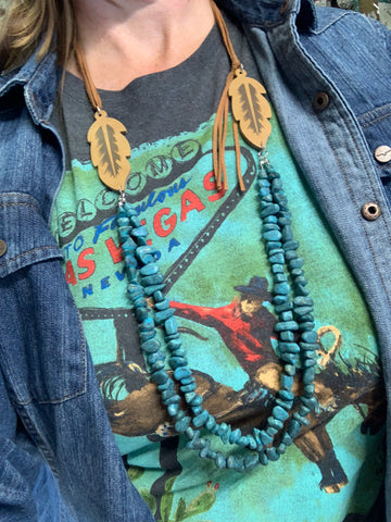 Turquoise & Leather Feather Necklace