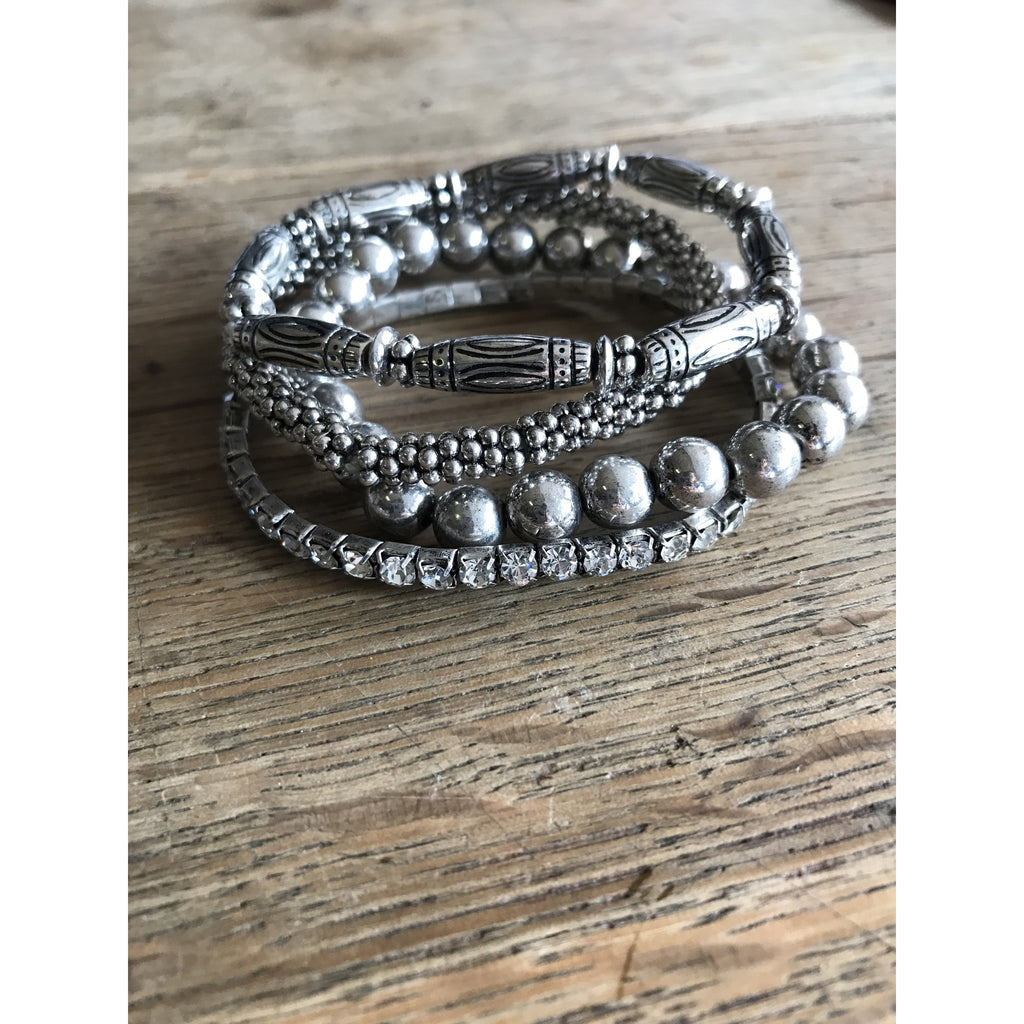 Silver Stretch Bracelet Set