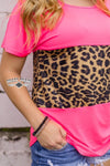 Pink Neon Me Leopard Short Sleeve Top