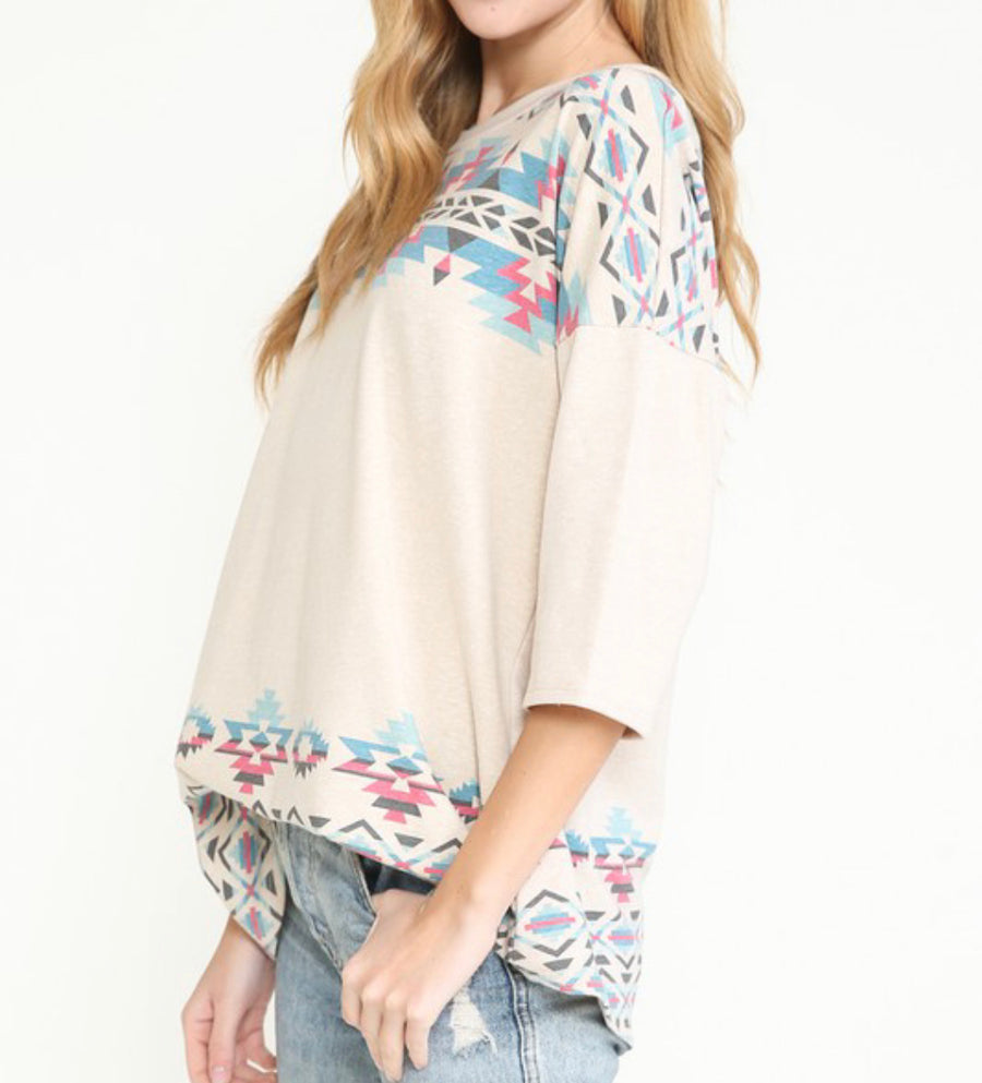 Tan Aztec Top
