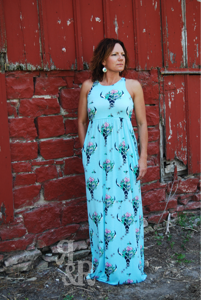 Cow Skull Maxi Dress - Ropes and Rhinestones