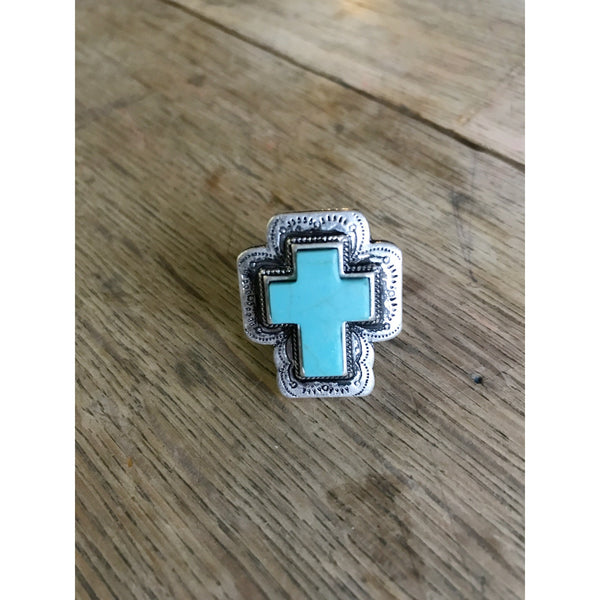 Turquoise Cross Ring