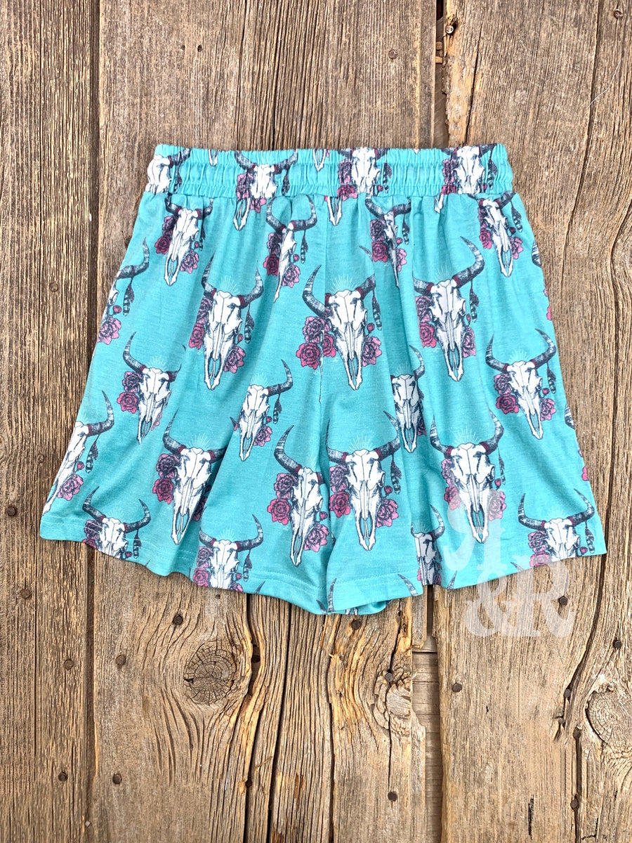 Cow Skull Turquoise Shorts