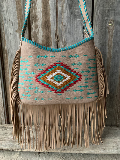 Aztec Embroidered Hobo Purse