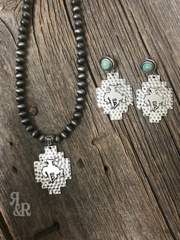 Silver Bucking Bronc Necklace or Earrings