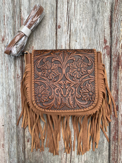 Tooled Fringe Purse