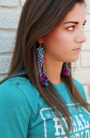 Pocahontas Purple Earrings
