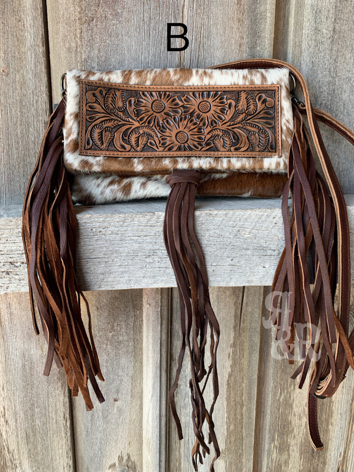 Fringe & Flower Cowhide Cross Body Purse