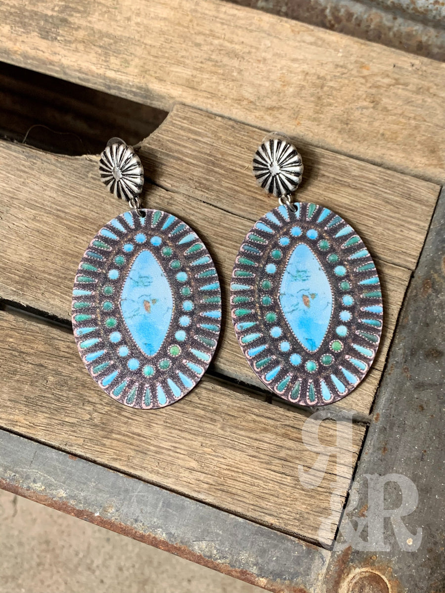 Diamond Turquoise Wood Earrings