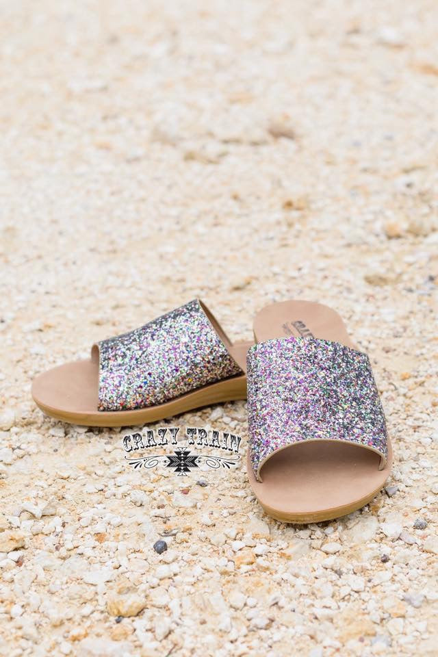 Showstopper Glitter Slide Sandals