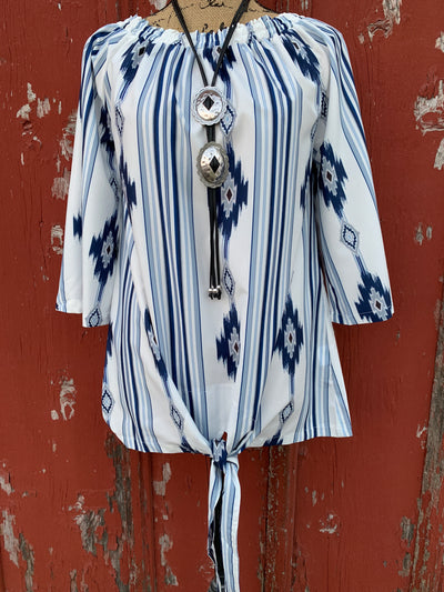 Aztec Blue Tie Front Top - Ropes and Rhinestones