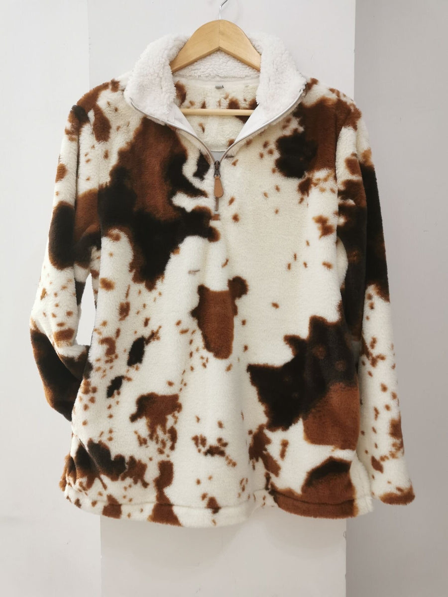 Kids Cowhide Print Sherpa Pull Over