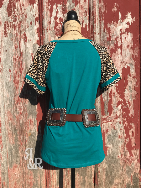 Key Hole Leopard Top Jade