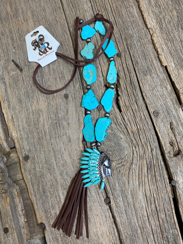 Turquoise Native American Fringe Necklace