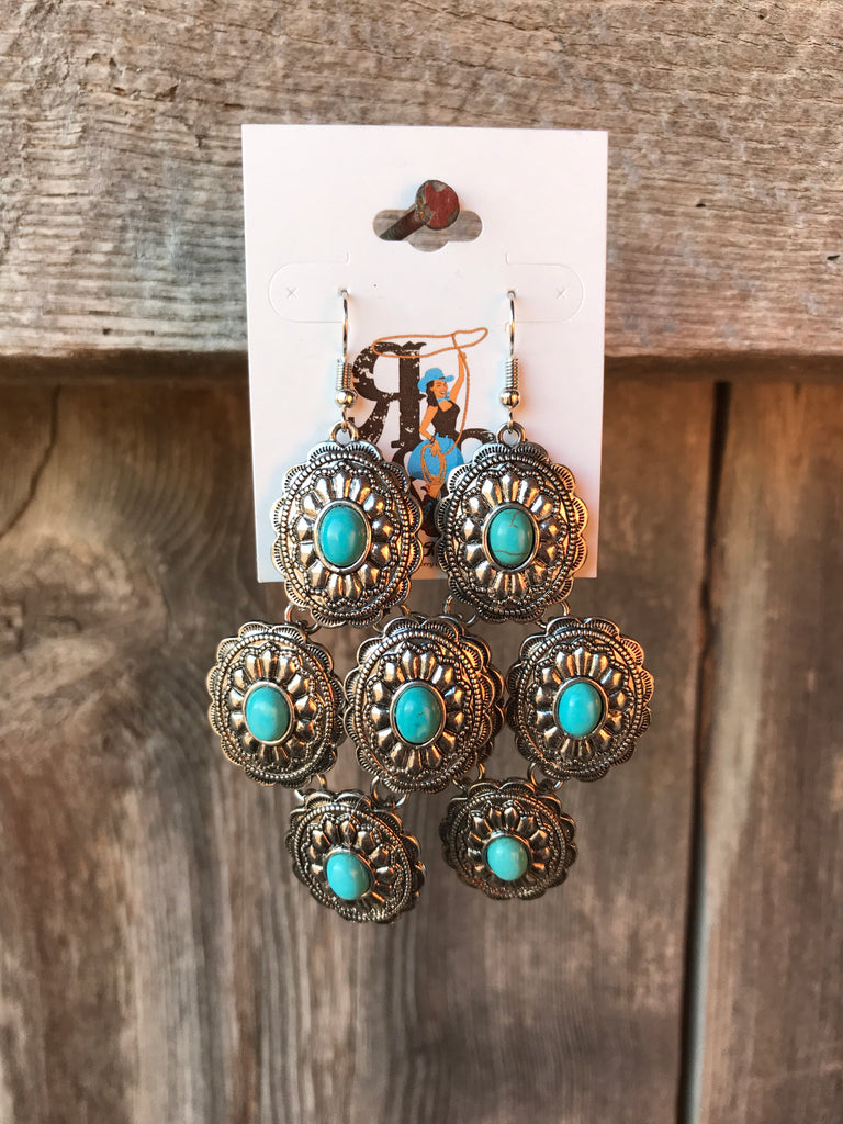 Turquoise & Silver Concho Earrings
