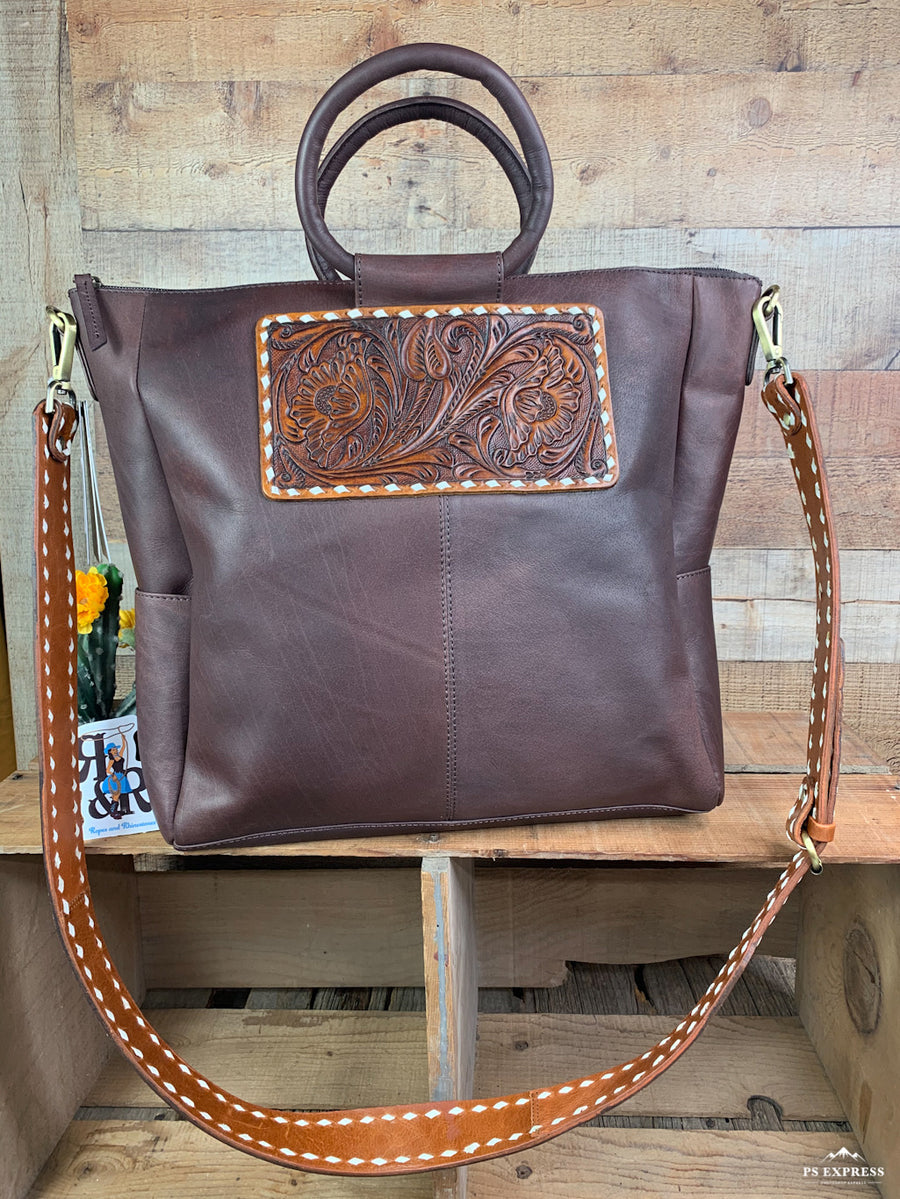 Everyday Buck Stitch Leather Tote
