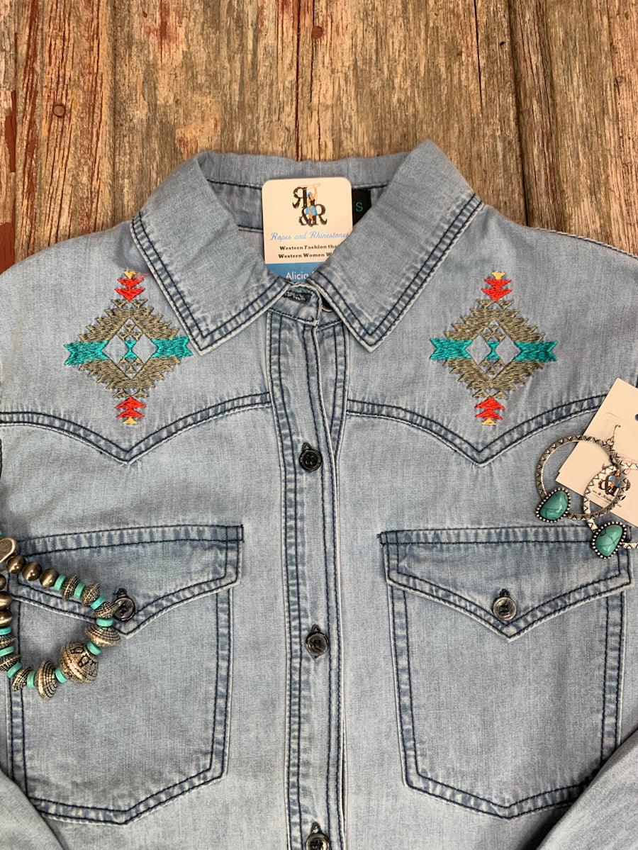 Denim Thunderbird Embroidered Shirt