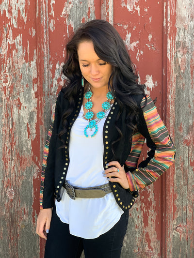 Black Serape Studded Jacket