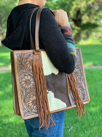 Tooled Leather & Cowhide Fringe Tote