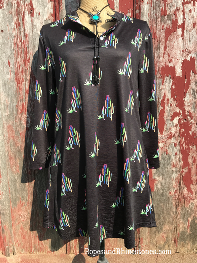 Black Cactus Shirt Dress - Ropes and Rhinestones