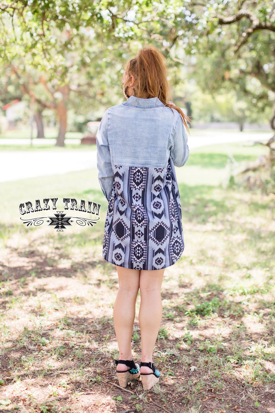 Bucking Chute Aztec Denim Dress